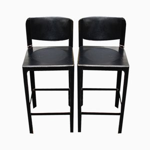 Vintage Italian Leather Bar Stools by Matteo Grassi, Set of 2