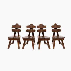 Brutalistische Gebeizte Stühle aus Eichenholz, 1935, 4er Set