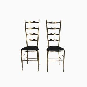 Italienische Stühle aus Messing, 1950, 2er Set