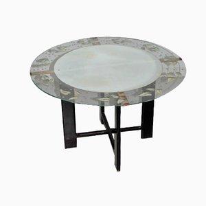 Mesa de centro vintage redonda de vidrio con estampado de hojas, años 50
