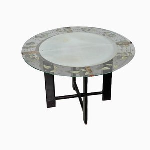 Vintage Round Glass Coffee Table with Leaf Pattern, 1950s