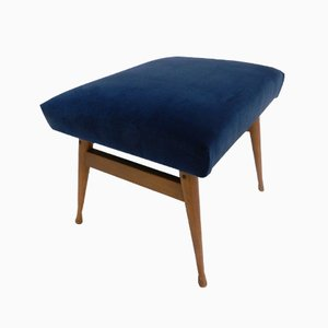 Taburete danés vintage de terciopelo azul rey