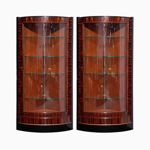 French Art Deco Corner Display Cabinets, 1935, Set of 2