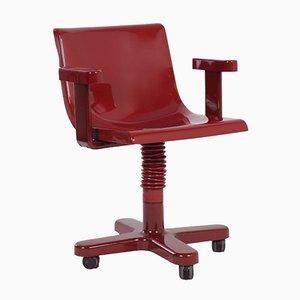 Sedia rossa in plastica e metallo di Ettore Sottsass per Olivetti Synthesis
