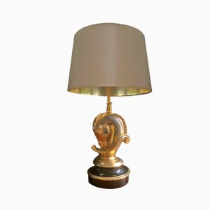 Gilded Brass Table Lamp from Maison Charles, 1970s