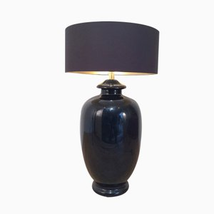 Schwarze Glasierte Keramik Lampe, 1960er