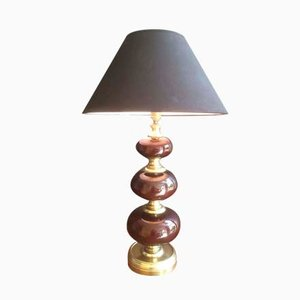 Vintage Brass Table Lamp with Red Glass