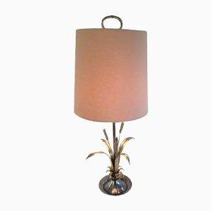 Lampada da tavolo in ottone placcato in argento, anni '40