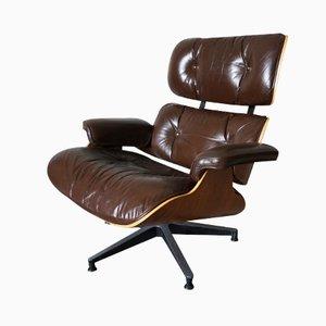 Amerikanischer Modell 670 Lounge Sessel aus Nussholz, Aluminium & Leder von Charles und Ray Eames für Herman Miller, 1956