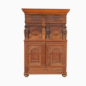 Antique Renaissance-Style Oak Wedding Cabinet