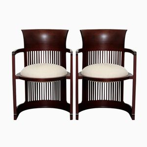 Cherrywood 606 Barrel Armchairs by Frank Lloyd Wright for Cassina, Set of 2