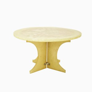 French Pale Yellow Resin Coffee Table, 1970s