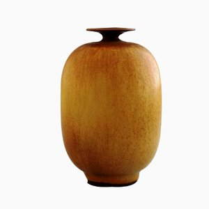 Beige Haresfur Glaze Stoneware Vase by Berndt Friberg for Gustavsberg, 1958