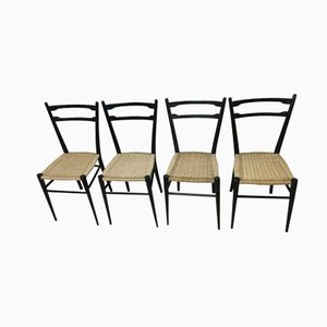 Italian Ash Dining Chairs, 1960s, Set of 4
