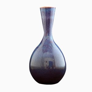 Blue Stoneware Vase by Sven Wejsfelt for Gustavsberg, 1983