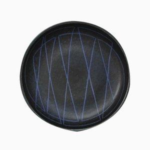 Plato de diseño geométrico de gres de Einar Lynge Ahlberg para Rörstrand, años 50