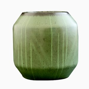 Vaso in gres verde con motivi geometrici di Einar Lynge Ahlberg per Rörstrand, anni '50