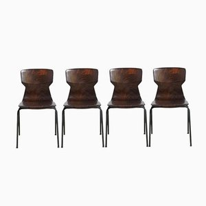 Dutch Pagwood Stacking Chairs, 1960s, Set of 4