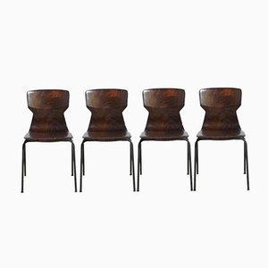 Niederländische Stapelstühle aus Sperrholz, 1960er, 4er Set
