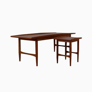 Danish Organic Edged Teak Coffee Table Set, 1960s