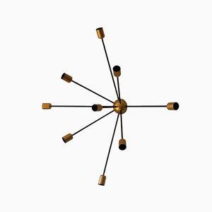 Lámpara de pared Sputnik vintage en negro y dorado con nueve brazos de Juanma Lizana