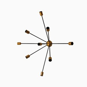 Vintage Black and Gold Sputnik 9-Armed Wall Lamp by Juanma Lizana