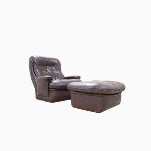 Brauner Vintage Leder Lounge Stuhl und Ottoman von Terstappen