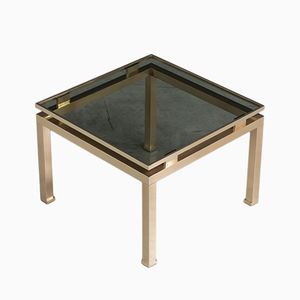Brass and Smoked Glass Side Table by Guy Lefevre for Maison Jansen
