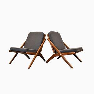 Dänische Teak Lounge Stühle von Arne Hovmand Olsen für Jutex, 1960er, 2er Set