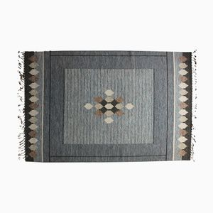 Swedish Grey Flat Weave Rölakan Carpet by Ingegerd Silow