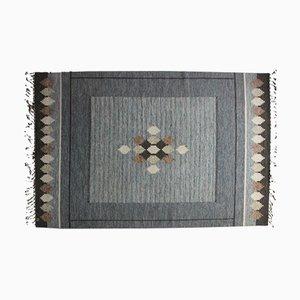 Swedish Grey Flat Weave Rölakan Carpet by Ingegerd Silow