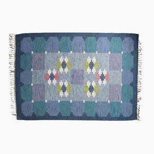 Alfombra Rölakan sueca de tejido plano azul de Ingegerd Silow