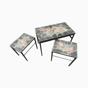 Dutch Brutalist Flag Stone Nesting Tables, 1960s, Set of 3