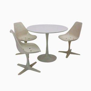 Conjunto de mesa y sillas de comedor británico de Maurice Burke para Arkana, años 60. Juego de 4