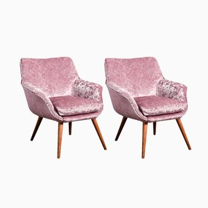 Ash and Velvet Cocktail Chairs, 1960s, Set of 2