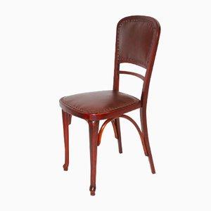 Österreichischer Modell Nr. 491 Stuhl aus Buche & Leder von Thonet