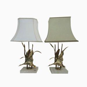 Lámparas de mesa estilo Hollywood Regency en forma de patos de latón de Lancia, años 70. Juego de 2