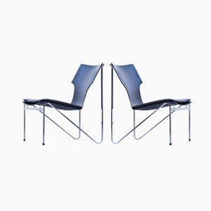 Swedish Chrome, Wood, and Leather Easy Chairs by Sigurd Persson for Åry Stålmöbler, 1968, Set of 2