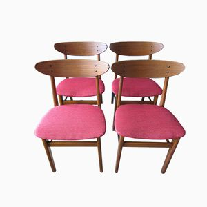 Sedie in faggio e teak di Farstrup, Danimarca, anni '50, set di 4