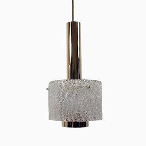 Lampe à Suspension Mid-Century en Verre Givré et Laiton par JT Kalmar