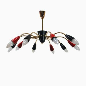 Red & Black Italian Sputnik Chandelier, 1950s