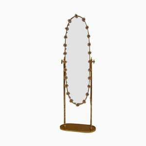 Vintage German Gilt Cheval Mirror with Crystal Flowers from Palwa