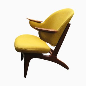 Gelber Mid-Century Teak Easy Chair von Carl Edward Matthes