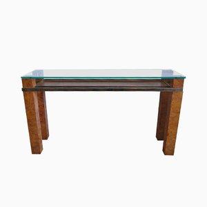 Consola italiana de madera nudosa y vidrio, años 70