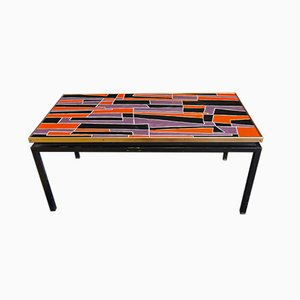 Italian Mid-Century Ceramic & Metal Coffee Table