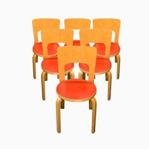 Vintage Nr. 66 Esszimmerstühle von Alvar Aalto für Artek, 6er Set