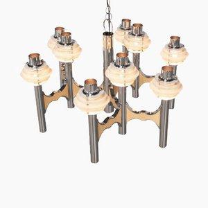 Lámpara de techo de cromo de Gaetano Sciolari, años 70