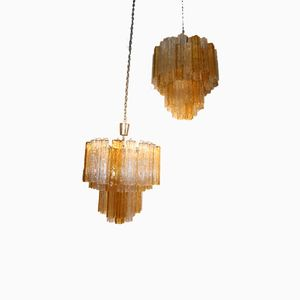 Italian Tronchi Murano Glass Chandeliers from Venini, 1960s, Set of 2