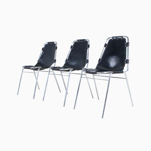 Les Arcs Leather Chairs by Charlotte Perriand, Set of 3