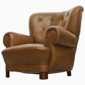 Vintage Danish Club Chair in Leather